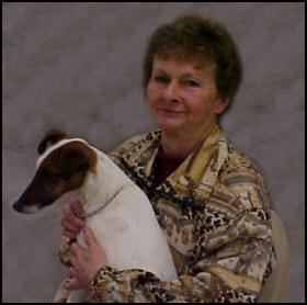 "Tam Cordingley with ""Rosie"" the Fox Terrier"